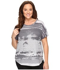 Lucy Extended Final Rep Short Sleeve Top Dove Grey High Tide Print Women's Short Sleeve Pullover Gray