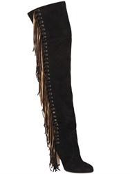 Brian Atwood 100Mm Horsy Fringed Suede Boots