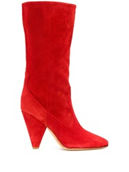 Buttero Panelled Mid Calf Booties Red
