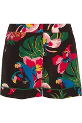 Valentino Printed Silk Crepe De Chine Shorts Black