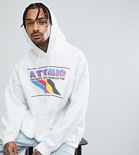 Reclaimed Vintage Inspired Hoodie With Atomic Print In White