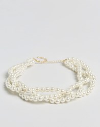 Asos Limited Edition Chunky Faux Pearl Choker Necklace Cream