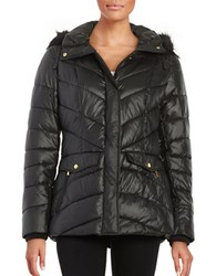 Jones New York Faux Fur Trimmed Puffer Coat Black