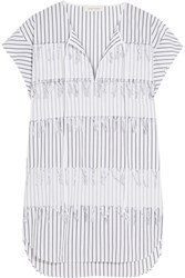 Cedric Charlier Frayed Striped Cotton Top White