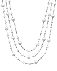 Macy's Sterling Silver Cultured Freshwater Pearl 4 8Mm Necklace Three Tier Tin Cup White