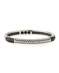 Lagos Maya Silver And Onyx Caviar Bangle Bracelet Black