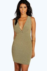 Boohoo Metallic Rib Plunge Bodycon Dress Gold