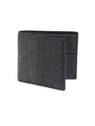 Bottega Veneta Woven Leather Wallet Blue Grey