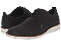 Ecco Contoured Plain Toe Tie Black Cow Nubuck Men's Plain Toe Shoes