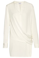 Dkny Wrap Effect Silk Blend Satin Paneled Crepe De Chine Blouse Ivory