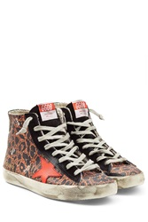 Golden Goose High Top Sneakers With Leather Animal Prints