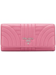 Prada Quilted Continental Wallet Leather Pink Purple