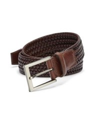 Saks Fifth Avenue Braided Leather Blend Belt Brown Cognac