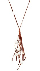 Chan Luu Suede Fringe Necklace White Pearl