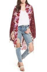 Free People Bali Wrapped In Blooms Shawl Red Combo