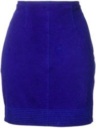 Versace Vintage Fitted Mini Skirt Blue