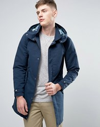 Jack And Jones Originals Light Weight Parka With Camo Lining Total Eclipse Navy