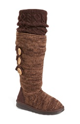Muk Luks 'Caris' Sweater Knit Boot Women Brown Fabric