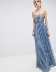 Little Mistress Bandeau Maxi Dress With Lace Detail Duck Egg Blue