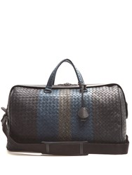 Bottega Veneta Intrecciato Tri Colour Leather Holdall Blue Multi