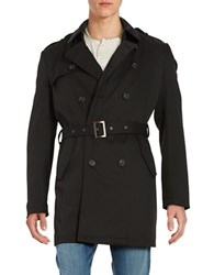 Calvin Klein Water Repellant Double Breasted Belted Trench Coat Black