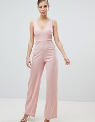 Ax Paris V Neck Jumpsuit Pink