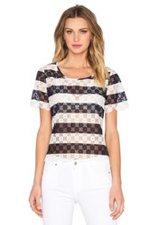 Bcbgeneration Striped Lace Top Blue