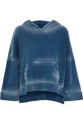 Lna Printed Cotton Fleece Hooded Sweatshirt Blue