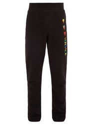 Versace Hearts And Logo Embroidered Cotton Track Pants Black