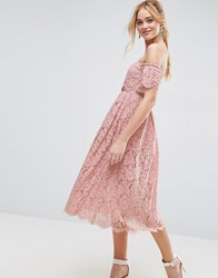 Asos Off The Shoulder Lace Prom Midi Dress Mink Pink