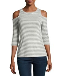 Casual Couture Cold Shoulder Striped Tee Gray Pattern