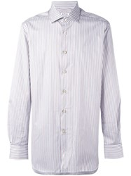 Kiton Striped Button Down Shirt Blue