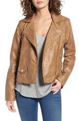 Bernardo Women's Kirwin Faux Leather Moto Jacket Tan