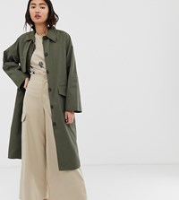 Monki Oversized Utility Style Lightweight Coat In Khaki Green