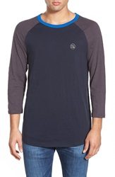 Volcom 'Morton' Three Quarter Raglan Sleeve T Shirt Navy