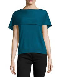 Halston Short Sleeve Cape Back Poncho Atlantic