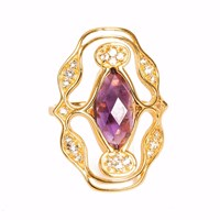 Neola Norresa Gold Cocktail Ring With Purple Amethyst