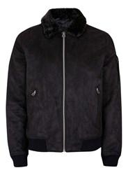 Topman Black Faux Fur Collar Flight Jacket