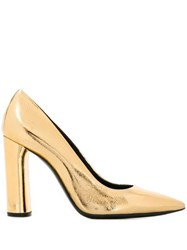 Casadei Metallic Pointed Toe Pumps Gold