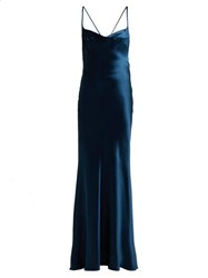 Galvan Whiteley Silk Satin Gown Mid Blue