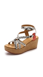Coclico Noir Wedge Sandals Print Marsala