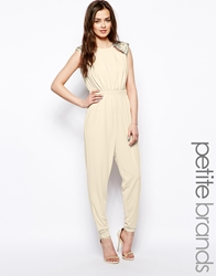 Little Mistress Petite Shoulder Detail Jumpsuit Cream