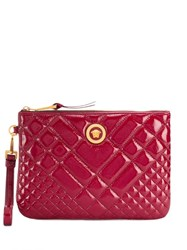 Versace Quilted Medusa Clutch Red