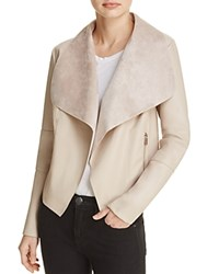Bagatelle Draped Faux Leather Jacket Toasted Almond