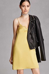 Forever 21 Eyelash Lace Satin Slip Dress Yellow