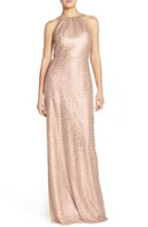 Amsale 'S 'Chandler' Sequin Tulle Halter Style Gown Latte