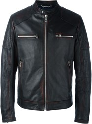 Dolce And Gabbana Spray Paint Detail Biker Jacket Black