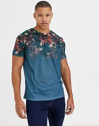 Burton Menswear T Shirt With Floral Print In Navy
