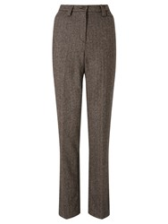Gardeur Karen Herringbone Straight Trousers Chocolate