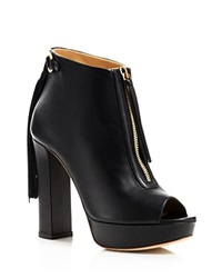 Jerome C. Rousseau Novak Fringe Open Toe High Heel Booties